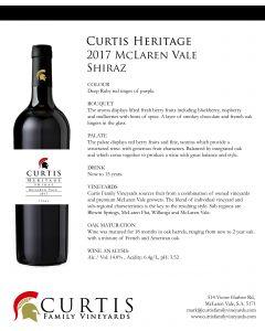 Curtis Heritage Shiraz 2017